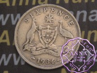 Australia 1934 sixpence, Average Circulated Condition