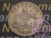 Australia 1936 Sixpence Average Circulated Condition