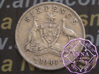Australia 1941 Sixpence Average Circulated Condition