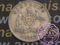 Australia 1942 Sixpence Average Circulated Condition