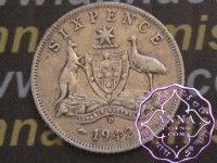 Australia 1942 D Sixpence Average Circulated Condition