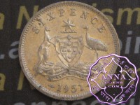 Australia 1951 PL Sixpence, High Condition