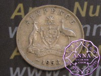 Australia 1953 Sixpence Average Circulated Condition