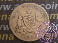 Australia 1911 Shilling Average Circulated Condition