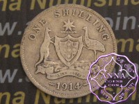Australia 1914 Shilling Average Circulated Condition