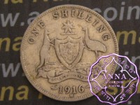 Australia 1916 Shilling Average Circulated Condition