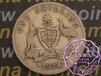 Australia 1924 Shilling Average Circulated Condition