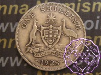 Australia 1928 Shilling Average Circulated Condition