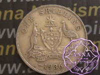 Australia 1936 Shilling Average Circulated Condition