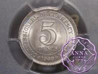 Malaya and British Borneo 1943 5 Cents PCGS MS65