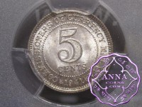 Malaya and British Borneo 1941 5 Cents PCGS MS65