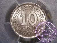 Malaya and British Borneo 1950 10 Cents PCGS MS65