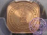 Malaya and British Borneo 1940 1/2 Half Cent PCGS MS65RD