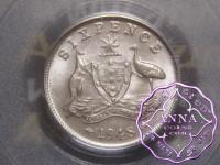Australia 1948 Sixpence PCGS MS62