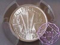 Australia 1944 S Threepence PCGS MS62