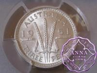 Australia 1951 PL Threepence PCGS MS63