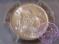 Australia 1938 Sixpence PCGS MS64