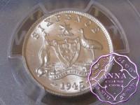 Australia 1945 Sixpence PCGS MS63