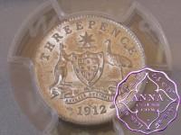 Australia 1912 Threepence PCGS AU55
