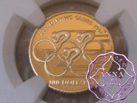 Cook Islands 1990 Gold 100 Dollars Olympiade NGC PF69 Ultra Cameo