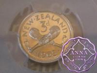 NZ 1965 ProofflikeThreepence PCGS PL66