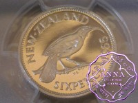 NZ 1965 Proofflike Sixpence PCGS PL67