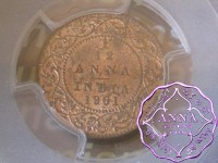 British India 1901 1/12 Anna PCGS MS63RB