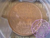 British India 1889 1/4 Anna PCGS MS64RD