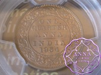 British India 1934 1/4 Anna PCGS MS65RB