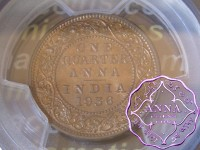 British India 1936 1/4 Anna PCGS MS64RB