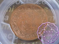 British India 1939 1/4 Anna PCGS MS63RB