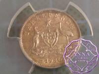 Australia 1936 Threepence PCGS MS64