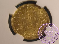 India 1862 British Victoria gold Mohur NGC MS62