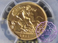 Great Britain 1911 George V Gold Proof 1/2 Sovereign PCGS PR65 Cameo