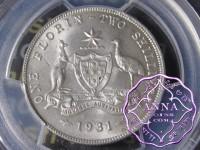 Australia 1931 Florin PCGS MS63