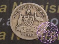 Australia 1910 Threepence Average Circulated Condition