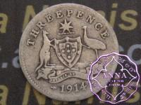 Australia 1914 Threepence, Average Circulated Condition