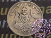 Australia 1916 Threepence, Average Circulated Condition