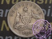 Australia 1918 Threepence, Average Circulated Condition