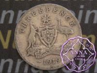Australia 1919 Threepence, Average Circulated Condition