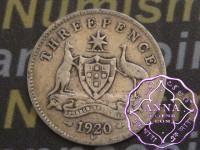 Australia 1920 Threepence, Average Circulated Condition