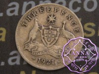 Australia 1921 Threepence, Average Circulated Condition