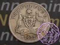 Australia 1922 Threepence, Average Circulated Condition