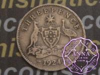 Australia 1924 Threepence , Average Circulated Condition
