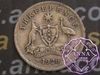 Australia 1928 Threepence, Average Circulated Condition