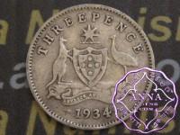 Australia 1934 Threepence, Average Circulated Condition