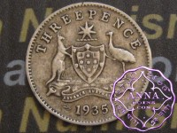 Australia 1935 Threepence, Average Circulated Condition