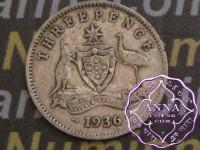 Australia 1936 Threepence, Average Circulated Condition