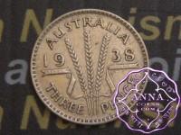 Australia 1938 Threepence Average Circulated Condition