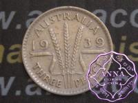 Australia 1939 Threepence Average Circulated Condition